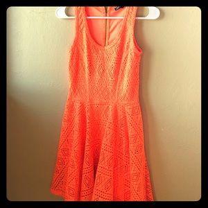 Express Neon Orange Cut Out Lace Dress
